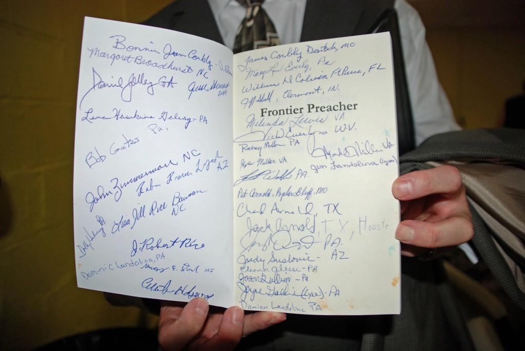 Signatures in Frontier Preacher book